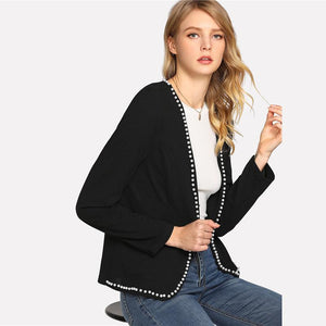 Black Round Neck Long Sleeve Elegant Blazer Btmfashion