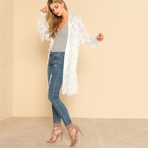 White Fringe Tassel Long Women Beach Kimono Btmfashion