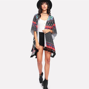 tribal Paisley Print V-neck Half Sleeve Kimono Btmfashion