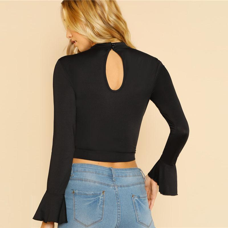 Black Eyelet Crochet Crop Top Btmfashion