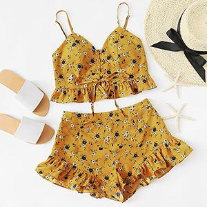 Two Piece Set Ruched Spaghetti Strap Top Btmfashion Multi XS