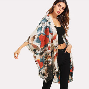 Allover Flower Print 3/4 Sleeve beach Kimono Btmfashion