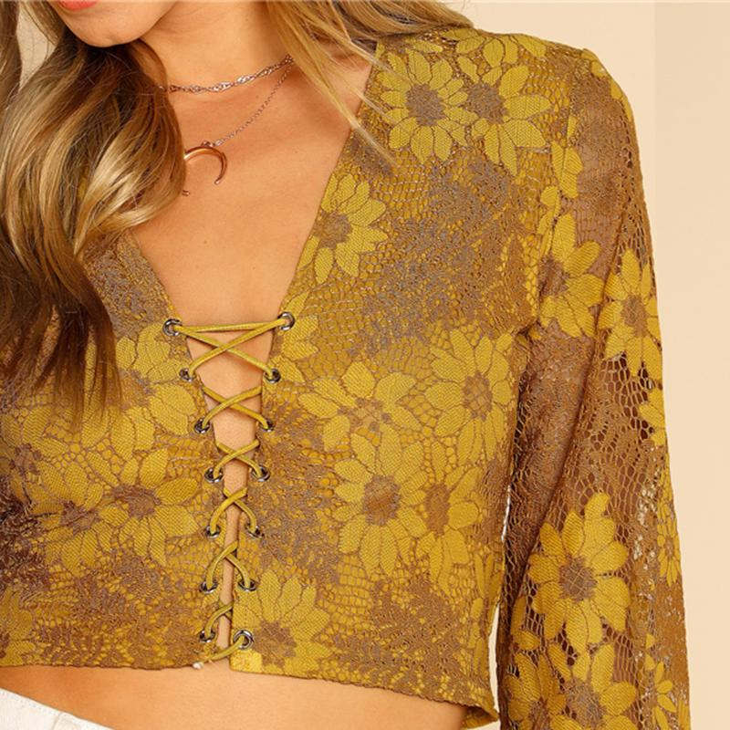 Grommet Crisscross Floral Crop Top Btmfashion