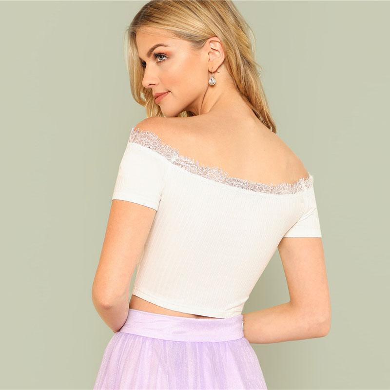 White Eyelash Lace Insert Crop Top Btmfashion