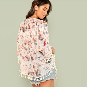 Flower Print Three Quarter Length Sleeve beach Kimono Btmfashion