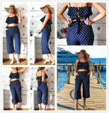 Polka Dot Crop Cami Top And Palazzo Pant Btmfashion
