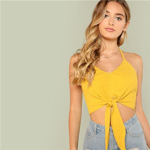 Knot Front Rib Crop Top Btmfashion Ginger XS