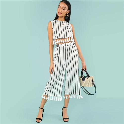 Tassel Trim Top And Culotte Pant Btmfashion White XS