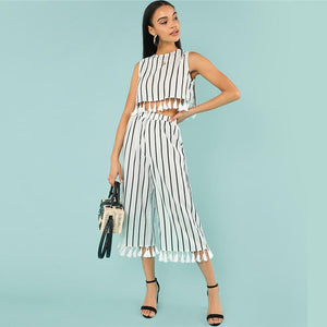 Tassel Trim Top And Culotte Pant Btmfashion