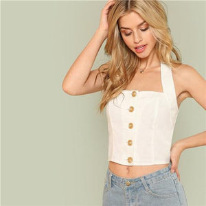 Button Up Thick Crop Top Btmfashion