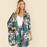 Multicolor Vacation Three Quarter Length Sleeve Kimono Btmfashion Multi XS
