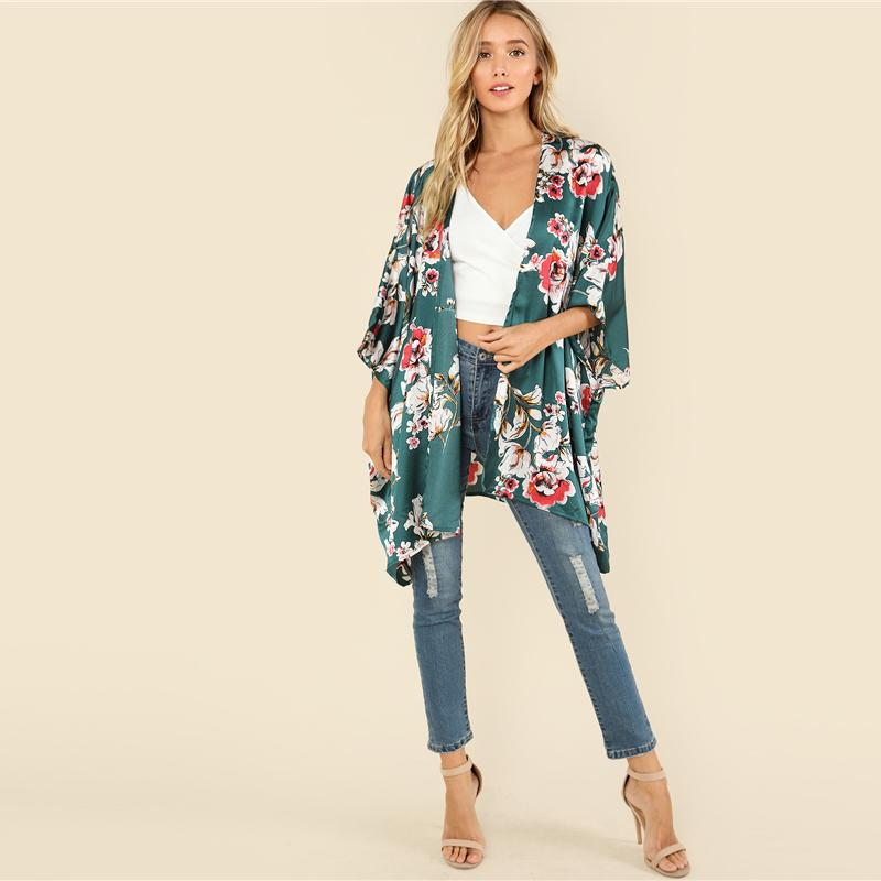Multicolor Vacation Three Quarter Length Sleeve Kimono Btmfashion