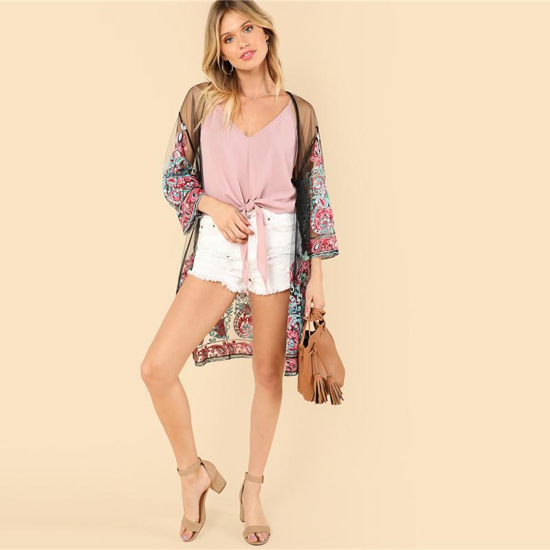 Multicolor Embroidered Sheer Mesh Longline beach Kimono Btmfashion
