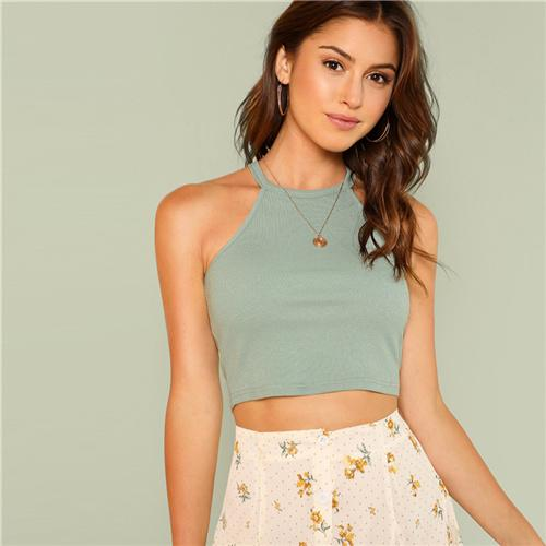 Steel Gray Casual Crop Top Btmfashion Steel Gray XS