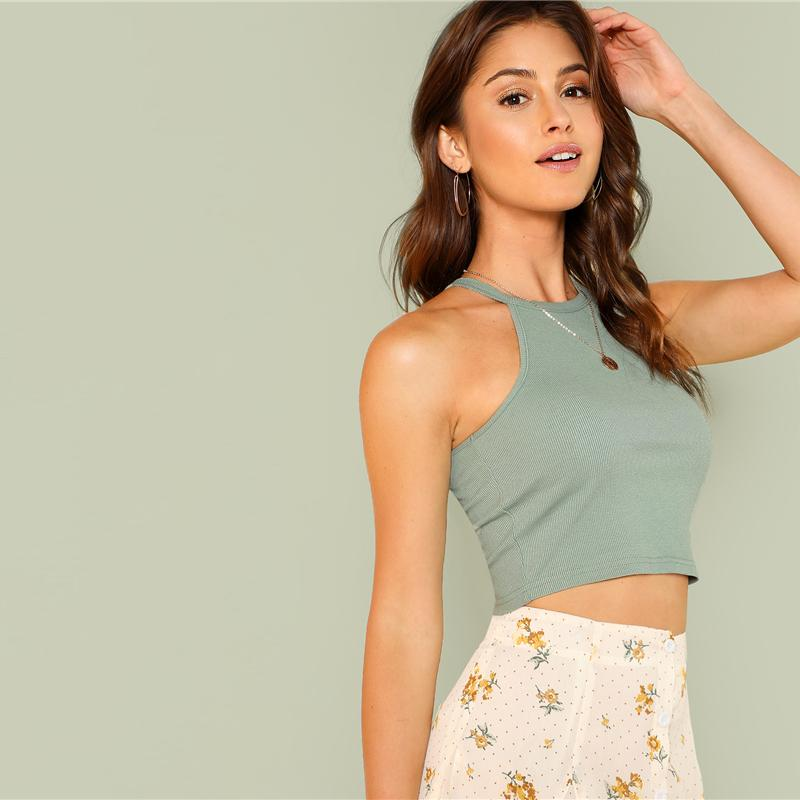 Steel Gray Casual Crop Top Btmfashion
