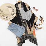 Multicolor Vintage Geo Print Casual beach Kimono Btmfashion