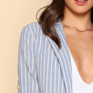 Blue Roll Tab Sleeve Casual Blazer Btmfashion