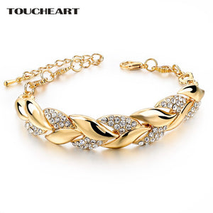 Luxury TOUCHEART Braided Gold color Leaf Bracelets & Bangles With Stones Luxury Crystal Bracelets For Women Wedding Jewelry Sbr140296
