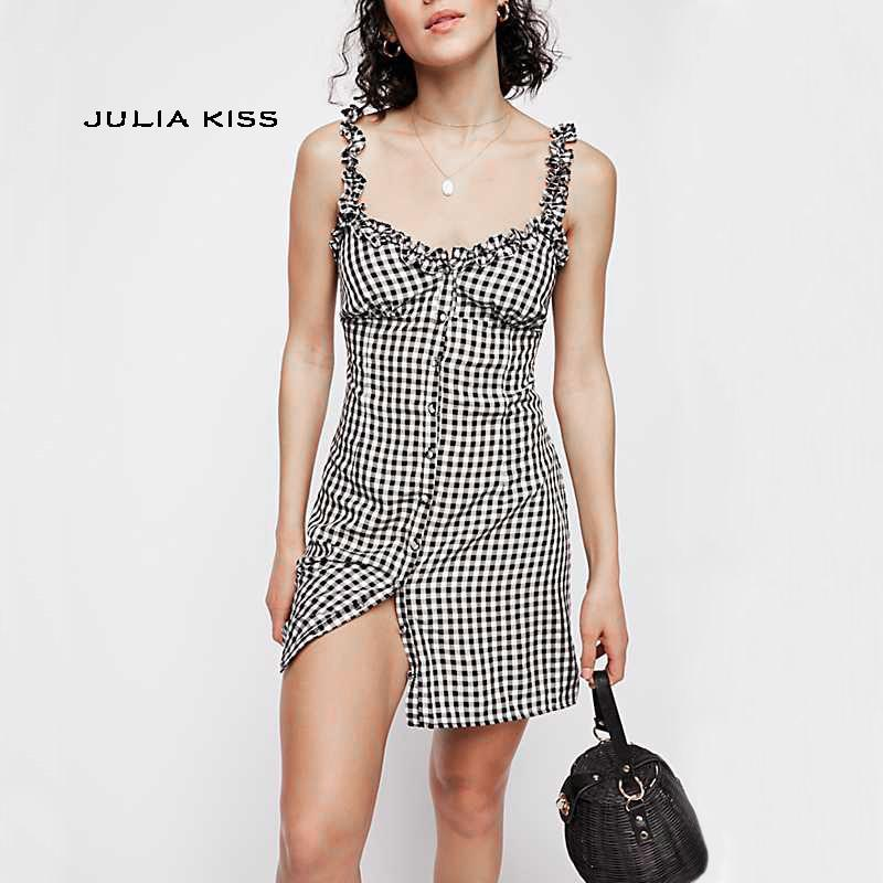 Women Frill Trim Gingham Moka-Fashion