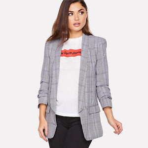 Ladies Pocket Patched Plaid Longline Regular Blazer Btmfashion
