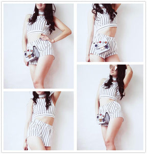 Vertical Striped Crop Top And Self Belt Short Btmfashion