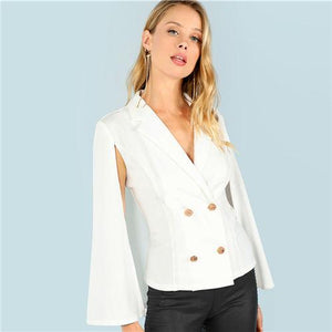 Double Button Front Cloak Sleeve Blazer Btmfashion Beige XS