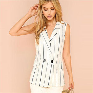 Double Breasted Pocket Front Notched Blazer Btmfashion White XS