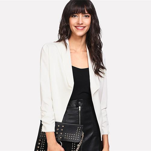 Shawl Collar Ladies Plain Blazer Btmfashion White S