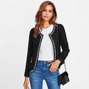 Black Pearl Beading Tweed Long Sleeve Blazer Btmfashion Black XS