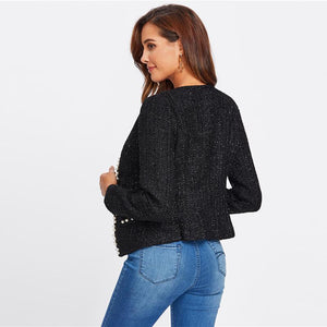 Black Pearl Beading Tweed Long Sleeve Blazer Btmfashion