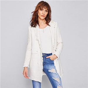 Ladies Long Sleeve Frayed Trim Button blazer Btmfashion White S
