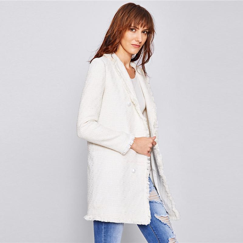 Ladies Long Sleeve Frayed Trim Button blazer Btmfashion
