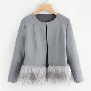 Gray White Elegant  Faux Fur Trim Tweed Blazer