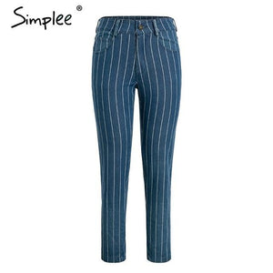 Sexy stripe blue jeans Moka-Fashion