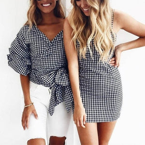Dress Women Skinny Gingham Moka-Fashion