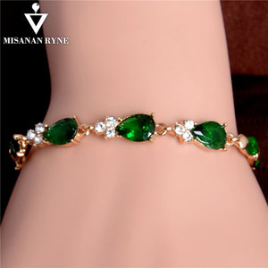 Luxurious MISANANRYNE Gold Color Beautiful Waterdrop Austrian Crystal Bracelet For Women Wedding Party Jewelry Female Bracelet Wholesale
