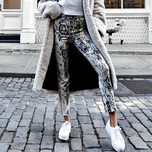 Snake print denim jeans Moka-Fashion