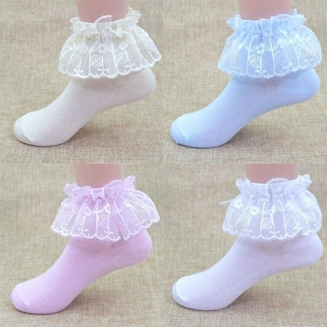 Bow Ruffle Frilly Ankle Socks Moka-Fashion 1to3Y