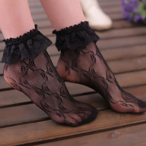 Sexy Lace Floral Socks Moka-Fashion Black One Size