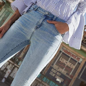 whitewashed cropped slim jean Moka-Fashion