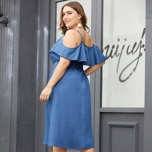 Sexy cold shoulder denim blue Moka-Fashion