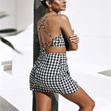 Tank Outfit Set Retro Gingham Moka-Fashion