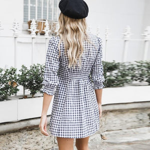 Women Dress V Neck Gingham Moka-Fashion