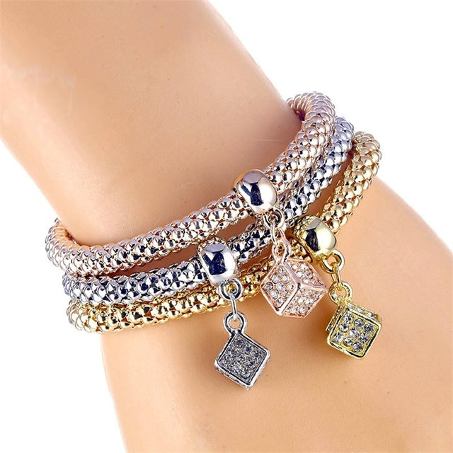 Luxurious 3Pcs/Set Owl Crystal Heart Bracelet & Bracelet Gold/Silverized Elephant Anchor Pendant Female Rhinestone Bracelet gift