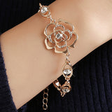 Luxurious MISANANRYNE Hot 1pc Gold Color Austrian Crystal Hollow Charming Rose Flower Chain Bracelet For Women Jewelry Wholesale