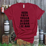 Alison,Reba,Faith,Trisha,Shania,Lee Ann,Country Music Classice Singers ,Country Legends,Unisex,Short Sleeve T Shirt