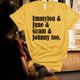 Emmylou,June,Gram,Johnny,Country Music Fan,Unisex,Short Sleeve T Shirt