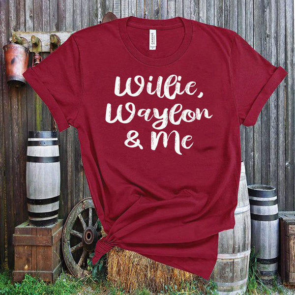 Willie, Waylon and Me,Country Music Fan,Unisex,Short Sleeve T Shirt
