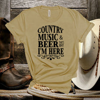 Country Music And Beer That's Why I'm Here,Country Music Fan Shirt,Country Farm Unisex T-shirt
