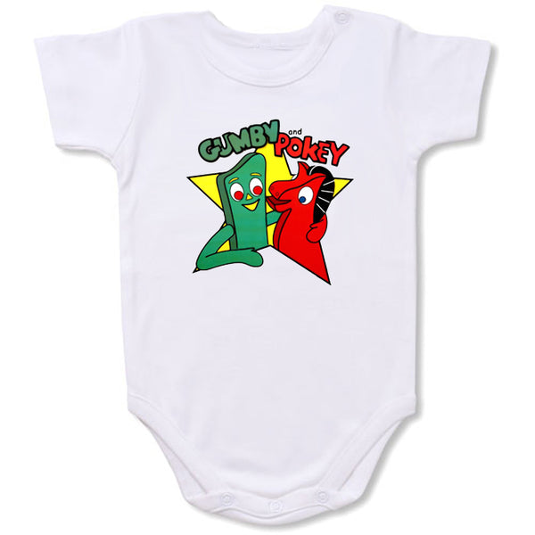 Gumby and Pokey Cartoon Baby creepers,Baby jumper,Baby one piece,Baby onesies,T shirt ,Comics Tee,Funny T shirt Cartoon Baby creepers,Baby jumper